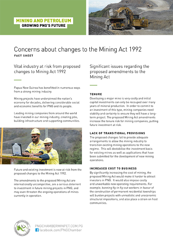 Concerns about changes to the Mining Act 1992