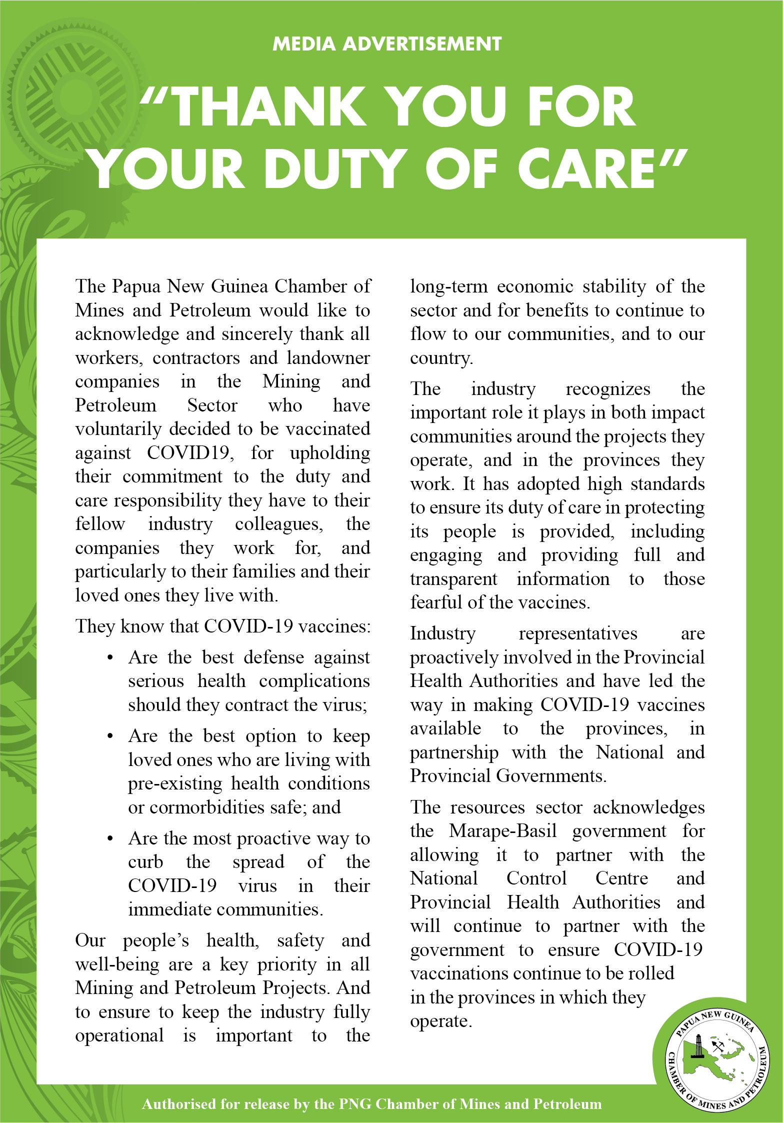 Chamber Acknowledges Duty of Care